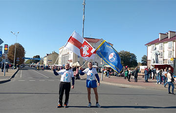 Профсоюз РЭП пробежал международный марафон под бело-красно-белым флагом