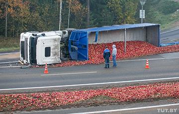Фотофакт: На трассе М1 опрокинулась фура с яблоками