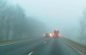 Видеофакт: Белорус пошел на рискованный обгон в сильном тумане