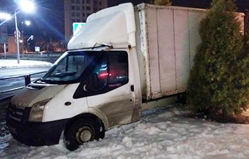 В Витебске водитель грузовика убегал от ГАИ, но застрял среди туй