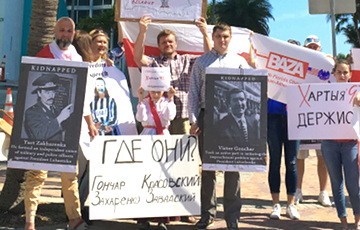 Miami Belarusians Held Rally To Commemorate Missing Politicians And To Support Charter-97