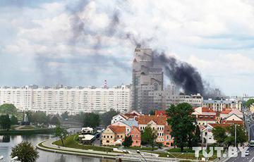 В Минске горело историческое здание возле «дома Чижа»