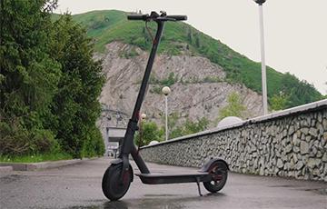 Відэафакт: У Менску самакатчык ехаў па дарозе з хуткасцю 70 км/г