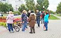 Flags With Pahonia And EU Symbols Run Up At Central Svetlahorsk Square