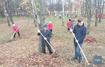 У Менску работнікаў школ зганяюць прыбіраць лісце ў парку