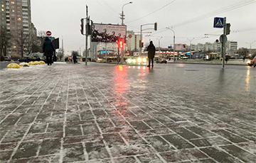 «Натуральный каток»: в Минске на дорогах гололедица