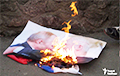 Protesters Burnt Portraits Of Putin And Lukashenka In Kiev