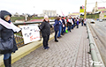 Hrodna Residents Lined Up In Human Chain To Support Belarus' Independence