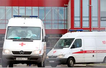 Ambulances Line up Near One of Minsk Hospitals