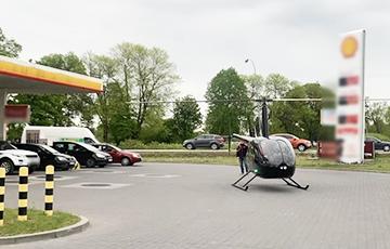 Видеофакт: в Польше вертолет заправился на АЗС