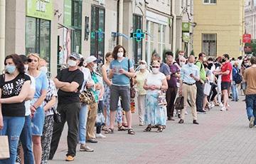 Километровые очереди протеста в Минске показали целиком в одном видео