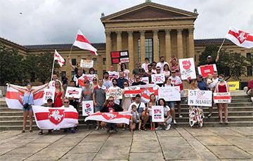 «Только вместе»: белорусы Филадельфии провели акцию солидарности