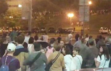 Thousands Of People Marching In Column In Serabranka Market Neighbourhood