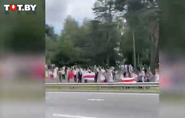 ПВТ под бело-красно-белыми флагами