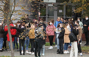 Students Gather Near Minsk State Linguistic University For Youth March