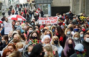 Калона Жаночага маршу ў Менску дайшла да Плошчы Перамогі