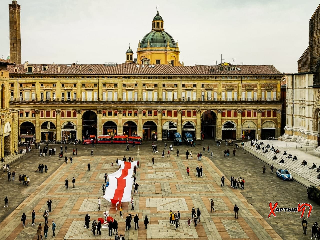 30-Meter Flag Unfurled In Bologna To Support Free Belarus ...