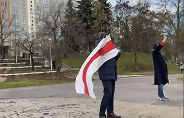 People With National Flags Take To Streets All Over Minsk