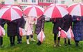 Жители Жодино вышли на акцию под бело-красно-белыми зонтиками