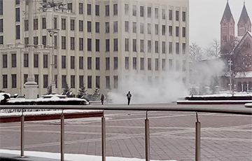 Man Was On Fire In Independence Square In Minsk