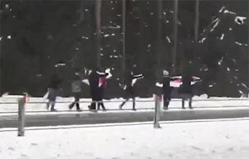 Марш на трассе М6: люди идут вдоль дороги с бело-красно-белыми флагами