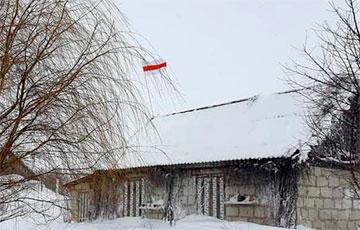 Воришки-лукашисты чуть не упали с крыши, снимая национальный флаг у Алины Нагорной