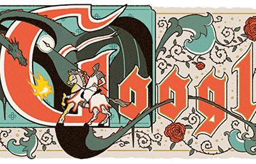 Google изобразил Георгия Победоносца с бело-красно-белым флагом
