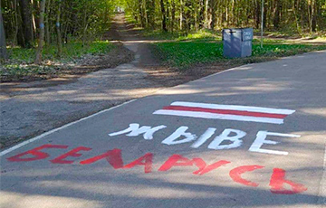 «Жыве Беларусь!» и национальный флаг: партизаны Минска украсили парк