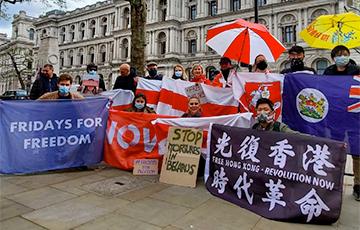 В самом центре Лондона прошла акция в поддержку Беларуси0