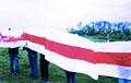 Жители Витебска вышли на акцию протеста под бело-красно-белыми флагами