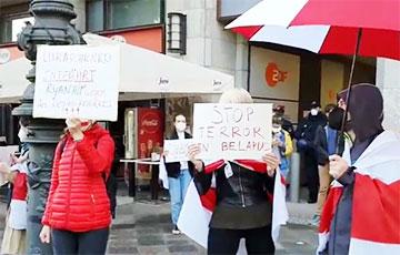 Белорусы Германии вышли на спонтанную акцию протеста0