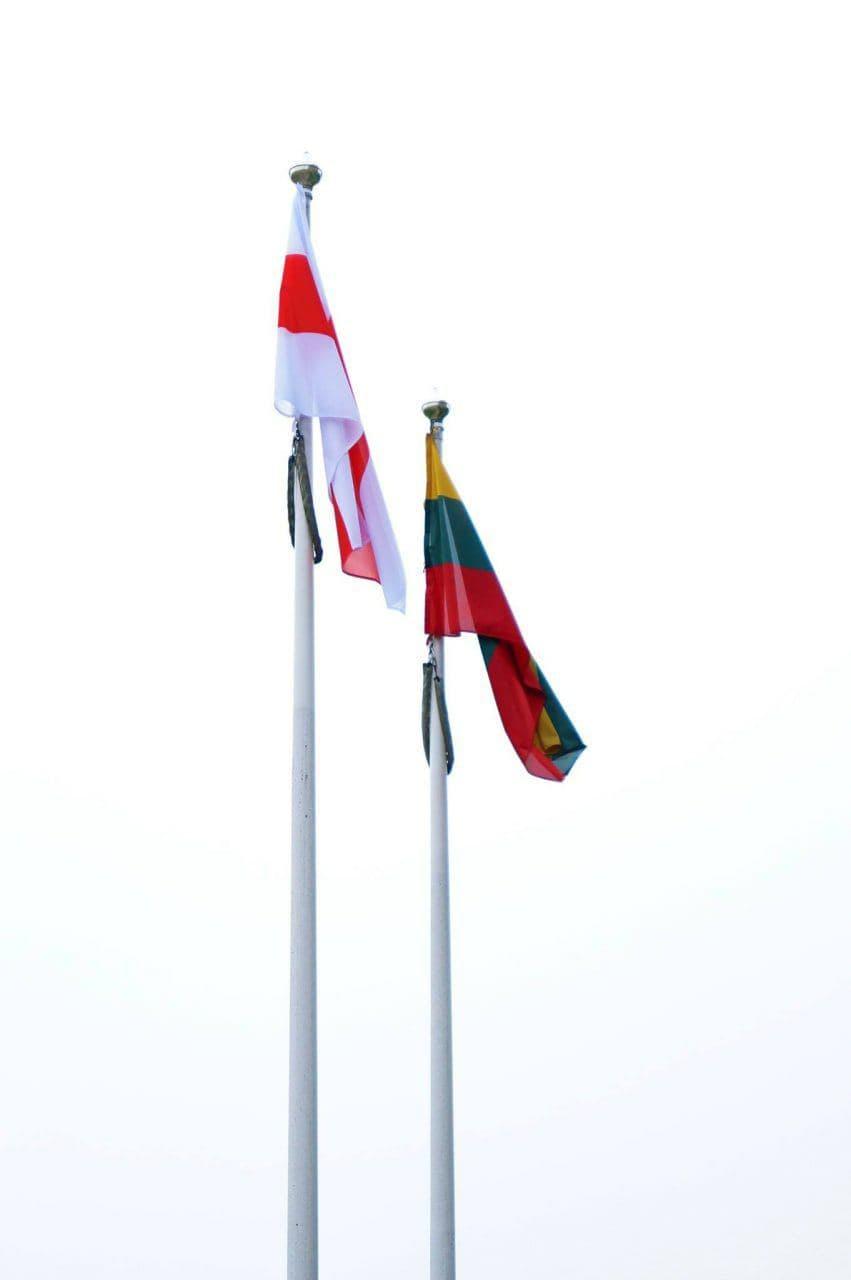 Еще в одном литовском городе подняли национальный флаг Беларуси1