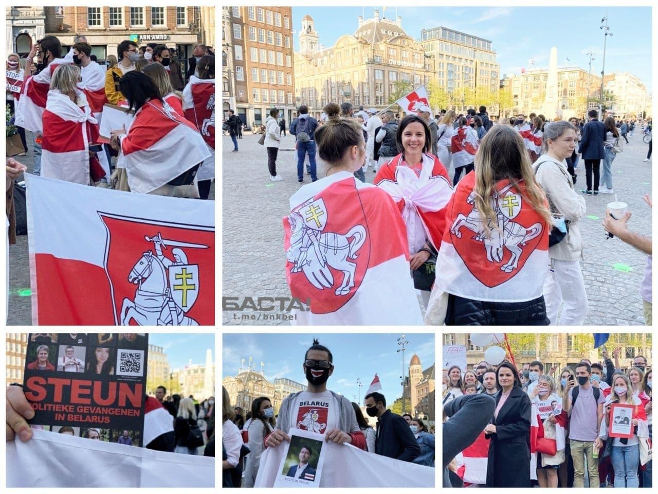 Более 200 человек собралось на площади в Амстердаме, чтобы поддержать белорусов1