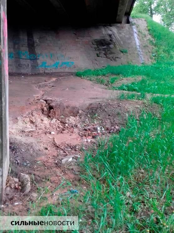 Ржавая арматура, куски бетона на земле, трещины в асфальте: что происходит с мостами в Гомеле10