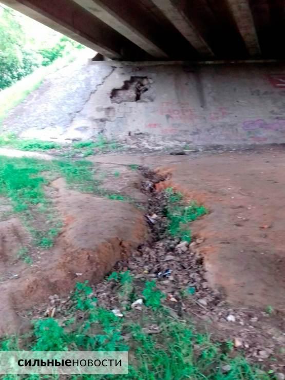 Ржавая арматура, куски бетона на земле, трещины в асфальте: что происходит с мостами в Гомеле9