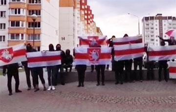 «Жыве Беларусь!»: жители Боровлян вышли на акцию протеста0