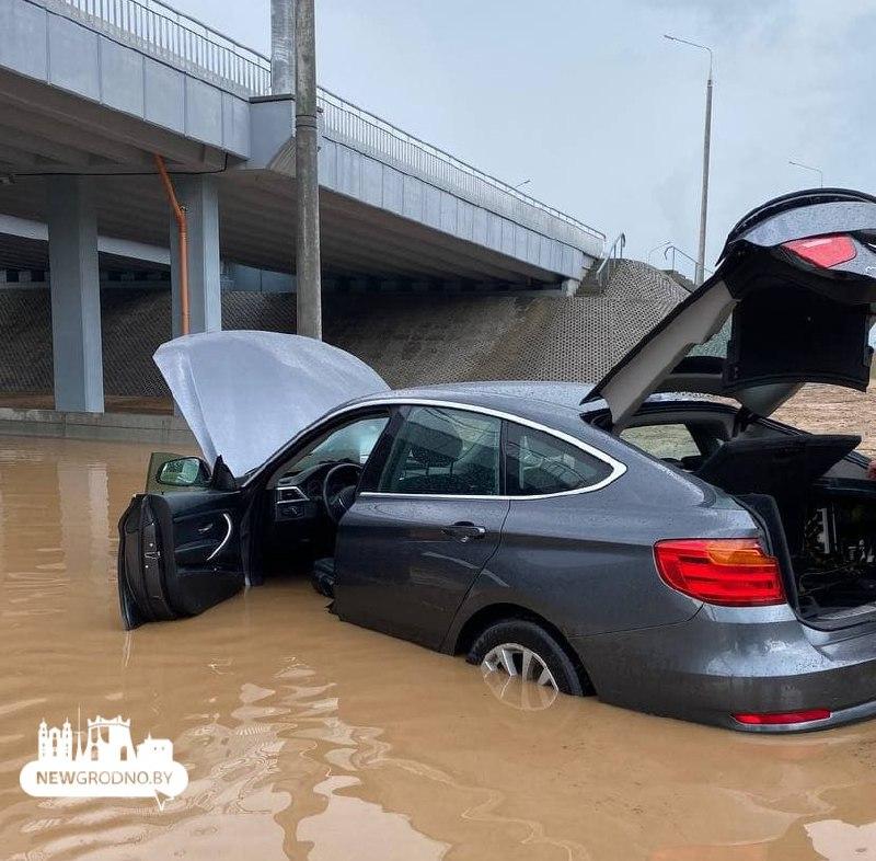 Возле нового автомобильного моста в Гродно провалился участок дороги1