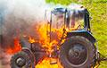 В Осиповичском районе в поле сгорел трактор