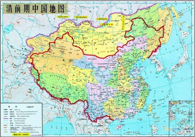 карта Китая Империя Цин ( 1644 - 1912)