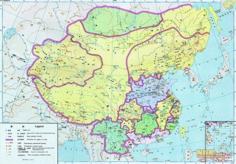 карта Китая Пяти династий и десяти царств (907 - 979)