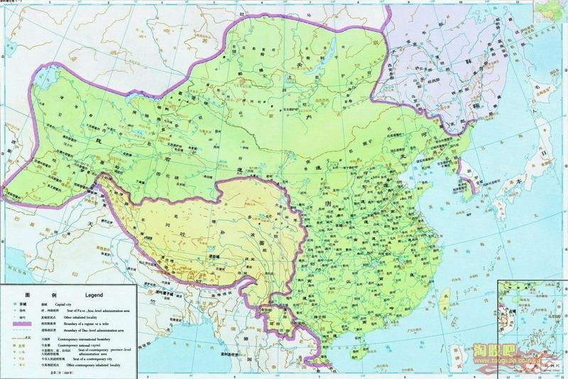 карта Китая Династия Тан 669 год (618 — 907)