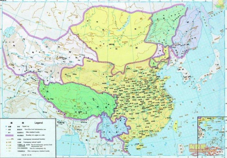 карта Китая Полный период Суй (581 - 618)