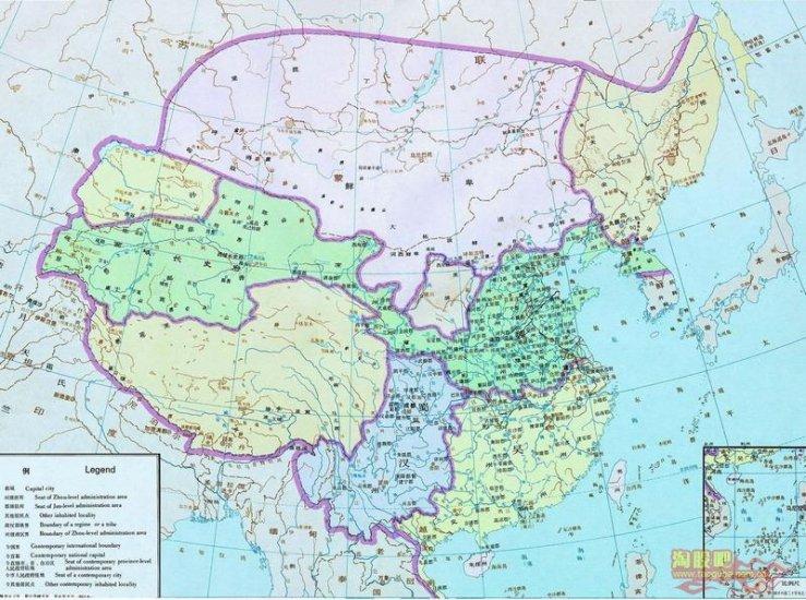 карта Китая Период Троецарствия (220 - 280 н.э.)