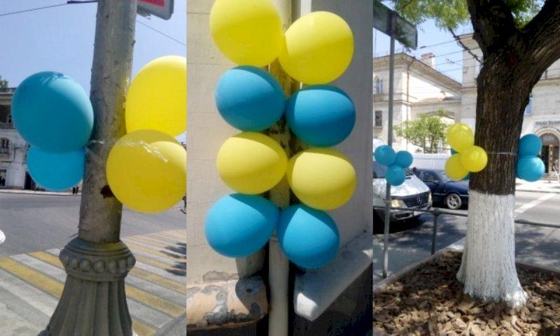 """Гасла """"Слава Україні!"""" і малюнки синьо-жовтих прапорів, - на окупованих територіях відзначили День Державного прапора - Цензор.НЕТ 1617"""