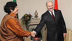 Лукашенко лично встречал Каддафи в аэропорту (Фото)