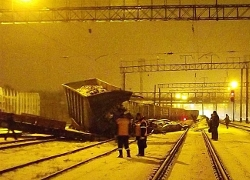 Freight train crash in Baranavichy