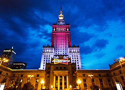 Warsaw's tallest building becomes white-red-white