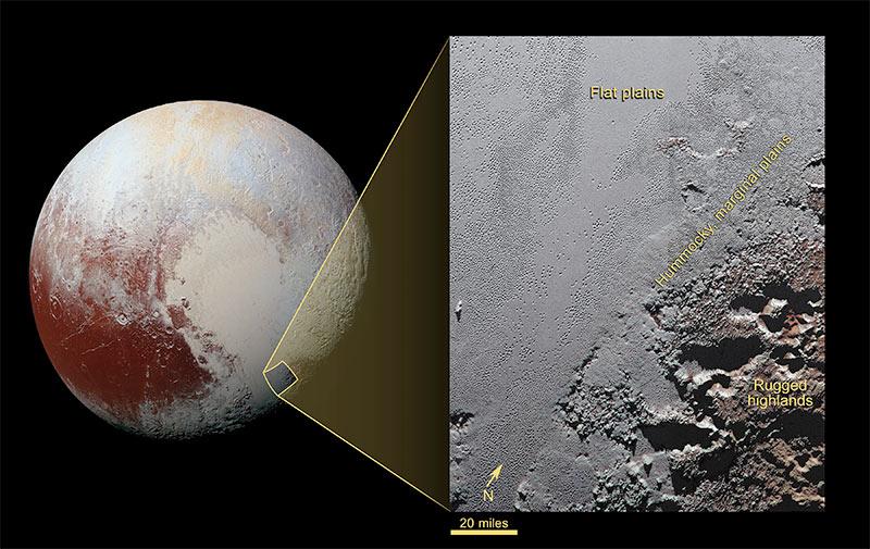 NASA опубликовало цветную фотокарточку гор идолин Плутона