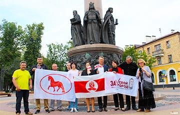 Социал-демократы отметили Грюнвальдскую победу в центре Бреста бело-красно-белым флагом