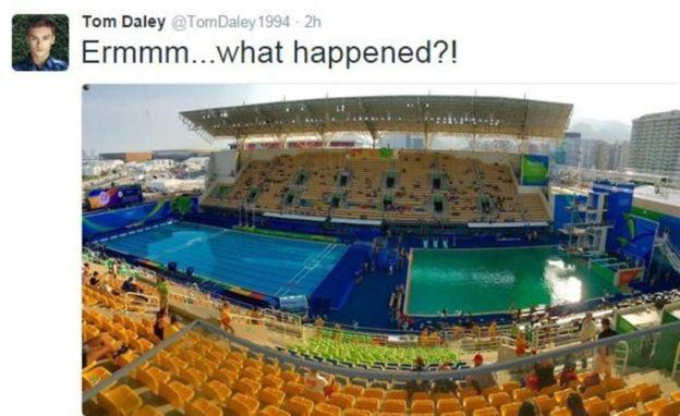 Бассейн для прыжков вводу волимпийском Рио неожиданно позеленел
